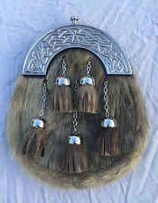 New Full Dress Kilt Sporran Formal Seal Skin Celtic Cantle/Mens Sporran/sporrans