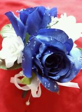 2 CORSAGES Royal Blue Roses with White Customized Wedding Prom Mother Bride