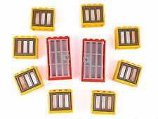 LEGO windows + doors barred prison jail castle (pack of 10) yellow red BRAND NEW