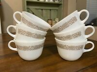6 Vintage Pyrex Glass Woodland Brown Coffee Tea Cup Mug Corelle Shared Design