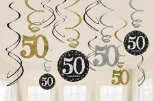 50th SPARKLING BLACK BIRTHDAY SWIRLS HANGING PARTY DECORATIONS 50 FIFTY PKT 12