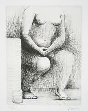 "HENRY MOORE Signed 1979 Original Etching - ""Seated Figure"""
