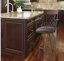 """Armen Living Napa 26"""" Counter Height Barstool in Brown Faux Leather and Auburn"""