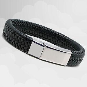 Mens Black Leather Braided Bracelet - Magnetic Steel Clasp - Mens Gift Bracelet