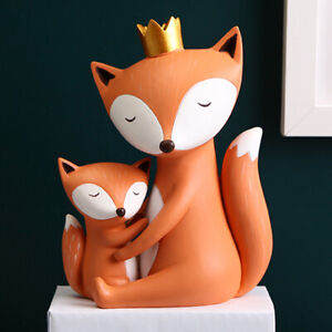 Modern Fox Bunny Statues Creative Sculpture Miniature Figurines Craft Gifts New