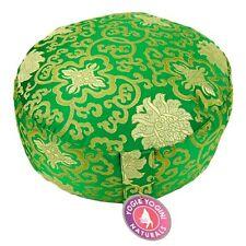 Coussin de méditation - Zafu yoga - Vert - Motif Lotus  Cosse de sarrasin