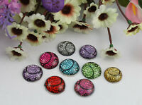 30pcs mixed colors acrylic rhinestone root round cabochon 20mm #22156