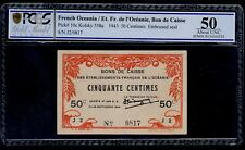 FRENCH OCEANIA  50 CENTIMES  1943    PICK # 10c  PCGS 50 ABOUT UNC.