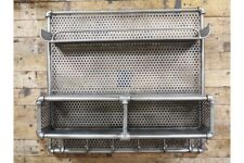 Metal Pipe Industrial Wall Storage Display Shelf Unit Grey 6 Coat Hook Shelving