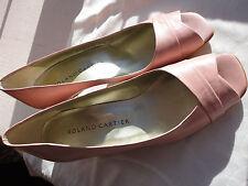 Vintage new signed Roland Cartier pink kidskin peeptoe size 5.5 heel shoes