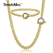 5mm Men's Gold Stainless Steel Chain Necklace Bracelet Set Cuban Curb Link
