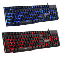 3 Colors Blue / Red / Purple LED Backlight illuminated Usb Wired Gaming Keyboard