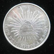 MEXICO 1 PESO 1900 Mo AM SILVER CROWN MEXICAN EAGLE CAP & RAYS SHARP 44# COIN