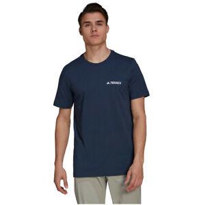 adidas Mens Terrex Rock Logo T Shirt Tee Top Navy Blue Sports Running Breathable