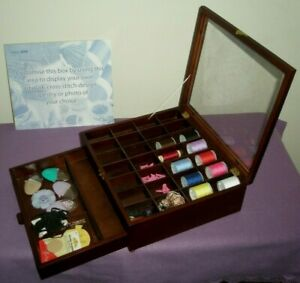 Groves Hobby Gift Wooden Sewing Box Spool Storage & Drawer 2.5KG & Needle/Thread