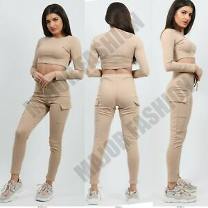 Ladies Womens Ribbed Crop Top & Bottoms Pants Combat Trousers Lounge 8 10 12 14