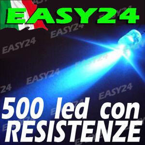 500 DIODI LED BLU ALTA LUMINOSITA' 20 gradi 5 mm con resistenze