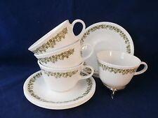 Corelle Crazy Daisy Spring Blossom 4 Cup & Saucer Sets USA Vintage Retro