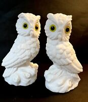 "Set of 2 Vintage White Unpainted Matte Ceramic Owl Figurines 5""x 3"""