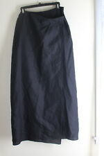"Calvin Klein Collection 10 Black Minimalist 100%Linen Wrap Very 41.5"" Long Skirt"
