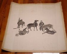 Vintage Chinese Asian FIVE HORSES Trainer Black & White Woodblock Cut Print