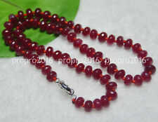 20inches 5X8mm Faceted Dark Red Garnet Gemstone Roundel Beads Necklaces PN772