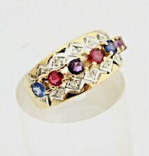Eleganter Gelbgold Diamant Ring mit Bunten Edelsteinen 585 14K Gr. 55