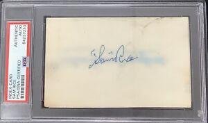Sam Rice Signed Index Card Baseball Autograph Cleveland Indians HOF PSA/DNA