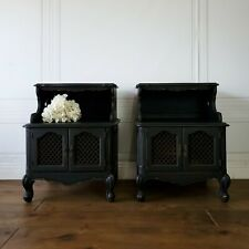 Vintage French Provincial Hollywood Glam Nightstands Pair Set End Tables Black