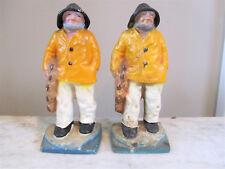 "Antique Pair Cast Iron ""Old Salt"" Fisherman Bookends LITTCO Mariner / Glouster"