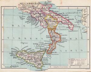 C2762 Italia Meridionale - Carta geografica d'epoca - 1936 vintage map