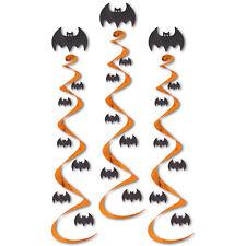 "3 HALLOWEEN Party HANGING Decoration Metallic BAT Dangling WHIRLS Swirls 30"""