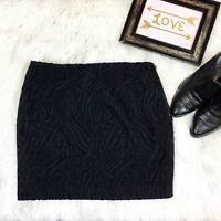 NWT Women's Tahari Black Textured Zebra Print Mini Skirt Size 2