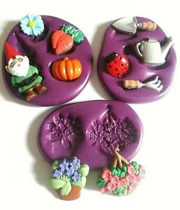 GARDENING Silicone Mould FOOD SAFE Sugarcraft Icing Cake Decorate Fimo Clay