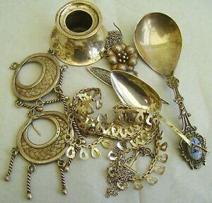 Vtg Scrap Sterling Silver Bundle inc Taxco HCF Modernist Necklace 70s &Jewellery