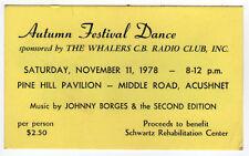 1978 WHALERS CB RADIO CLUB DANCE Ticket NEW BEDFORD Massachusetts ACUSHNET