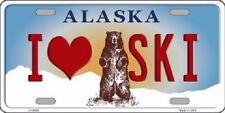 I Love Ski Alaska State Background Novelty Metal License Plate