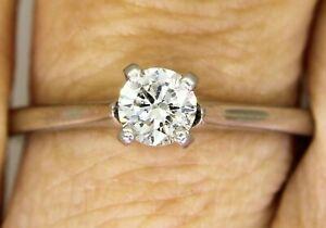 Stunning 0.30ct Diamond Solitaire Platinum Ring K ~ 5 1/4