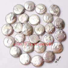 """14-15mm Gray Color Coin Shape Natural Freshwater Pearl Gem Loose Beads Strand15"""""""
