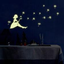 Glow in the Dark Wall Stickers Decal Waterproof Dandelion Girl Bedroom Decor UK