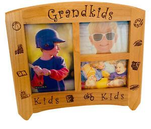 "Malden Wooden Tabletop Picture Frame for 3 Photos ""Grandkids"" ""Kids"""
