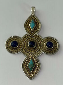 Anna Beck Large Sterling Silver 925 Cross Decorated Pendant
