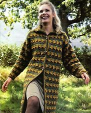 """Crochet Pattern - Ladies Coat with Collar 5 sizes (30""""-44"""" bust) A0142"""