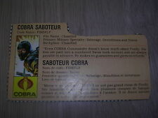 gi joe Cobra Firefly File Card 1984 Canadian!
