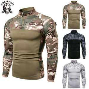 Men Camouflage Military Tactical T shirt Long Sleeve Army Combat Blouse T-Shirts