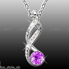 Infinity Love lariat Pendant Necklace Purple Amethyst Crystal Diamond Xmas Gift