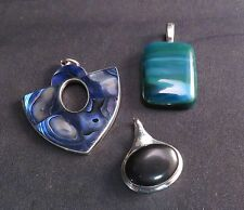 Lot of 3 Colored Stone Pendants, Abalone, Black, Turquoise Colors