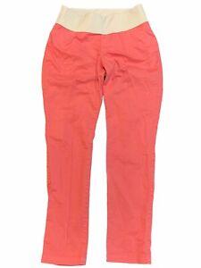 NWT GAP Maternity Best Girlfriend Pants Sz 0 Orange Coral Stretch #213816