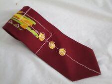 Guy LaRoche Paris Maroon Silk Tie Green Yellow Geometric Design  Gold Chain
