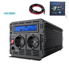 Convertisseur pur sinus 1000W 2000 Watt 12V 220V Transformateur LCD noir